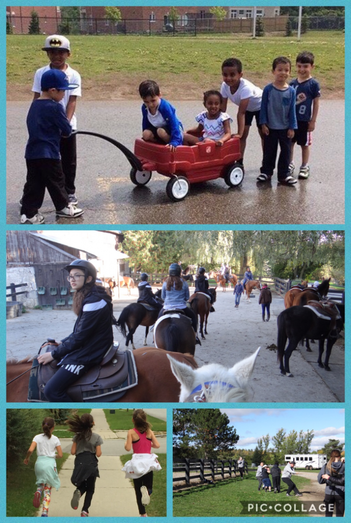 collage of students participating in outdoor activities
